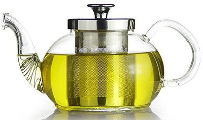 Borosilicate Glass Teapot With Infuser And Steel Spout
