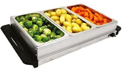 3 Pots Warming Tray For Food In Steel Finish