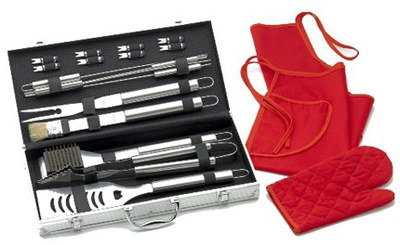 18 Piece Barbecue Tool Set With Red Apron