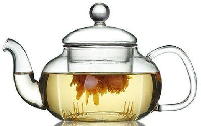 Blow Mould Small Glass Teapot With Infuser And Round Cover