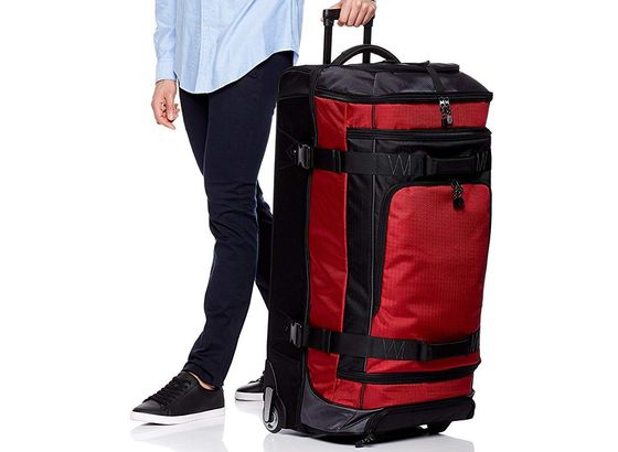 Travel Duffel Bag With Wheels In Red And Black