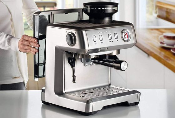 Steel Espresso Pod Machine With Grinder