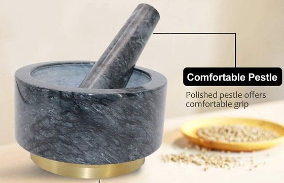 Large Granite Mortar And Pestle With Gold Base