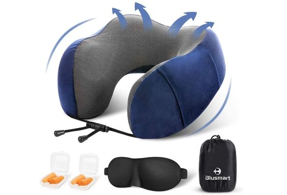 Flight Pillow With Black Eye Mask