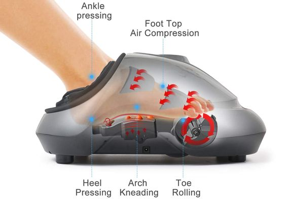 Heated Foot Warmer Massager In Grey Finish