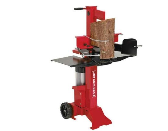 Vertical Log Splitter With Red Exterior