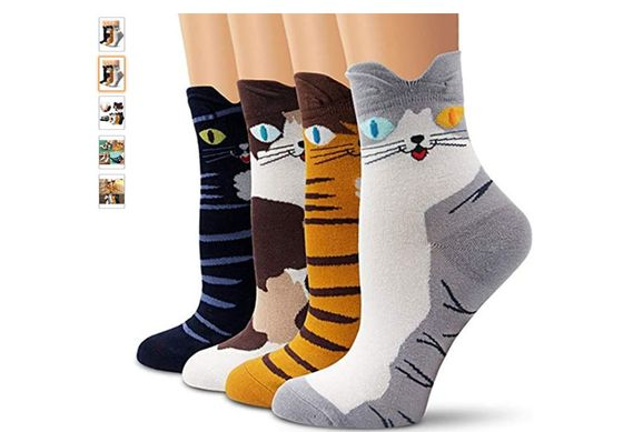 x4 Pairs Cute Cotton Cat Socks In Cotton