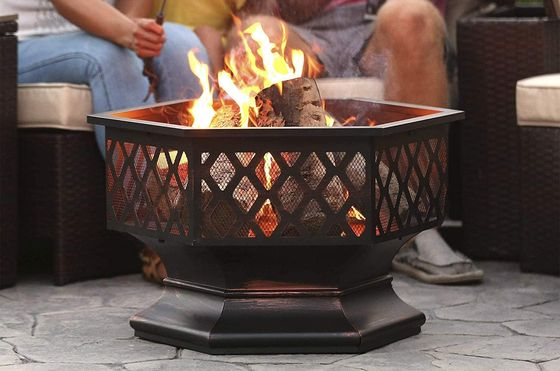Round Fire Pit Bowl In Lattice Style