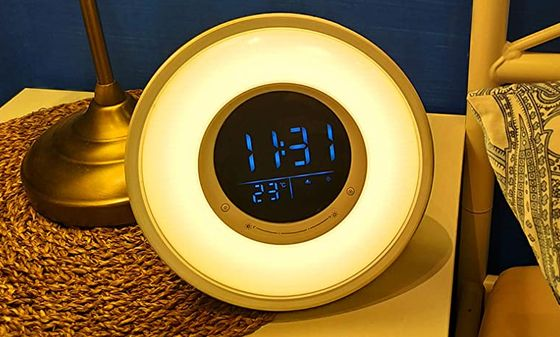 SAD Light Alarm Clock With Blue Digits