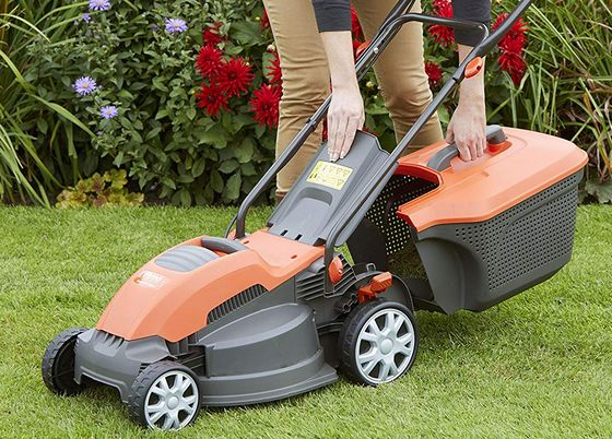 Electric Hover Mower In Red And Black