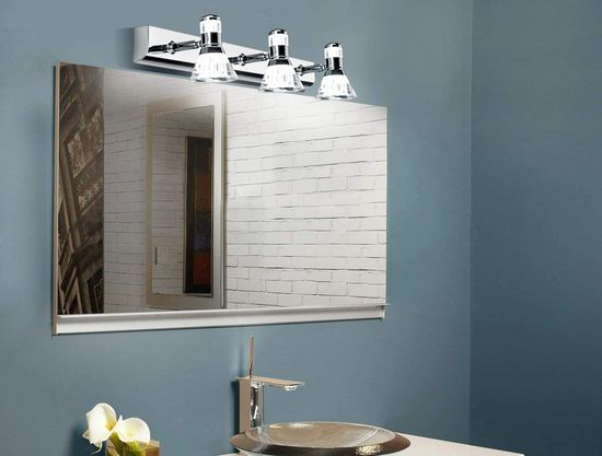 Chrome Bathroom Wall Lights Above Mirror