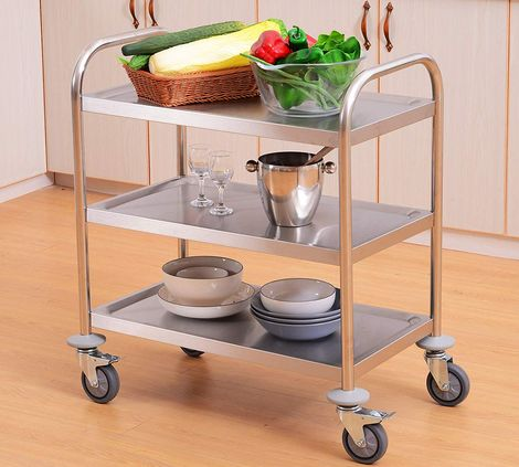 3 Tiers Tea Trolley In Polished Steel