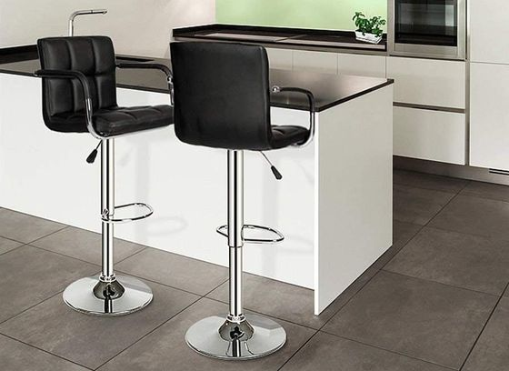 High-Back Bar Stools With Metal Foot Rest