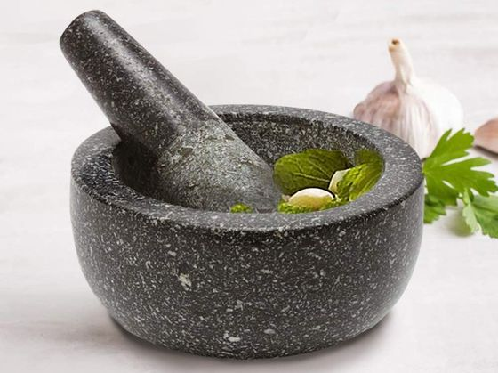 Stone Mortar And Pestle In Black