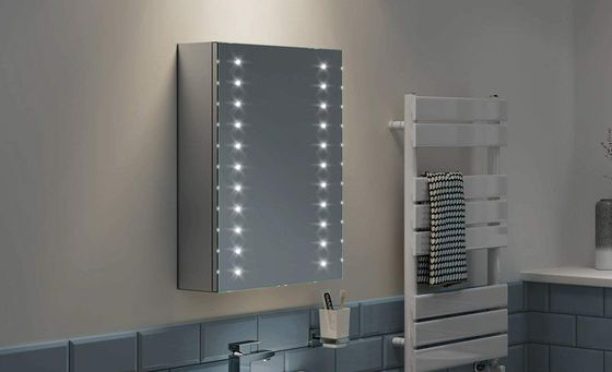 Mirrored Bathroom Cabinet With Vertical LEDs