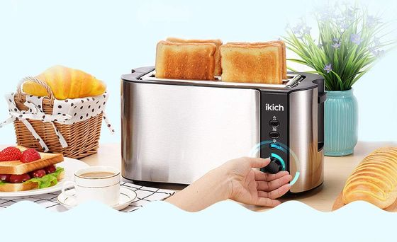Long Wide Slot Toaster In Polished Steel