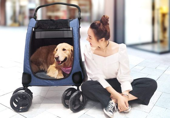 Large Dog Pushchair In Blue And Black