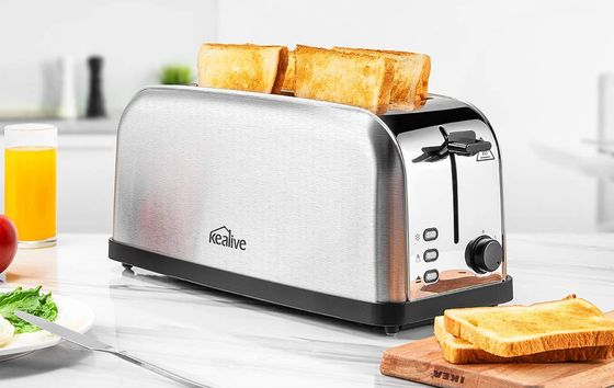 4 Slice Steel Toaster With Wide Style Slots