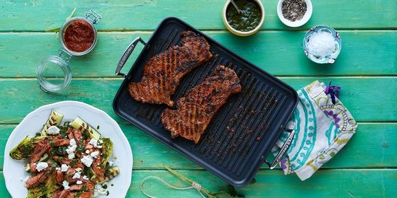 Ribbed Large Griddle Pan With 2 Steaks