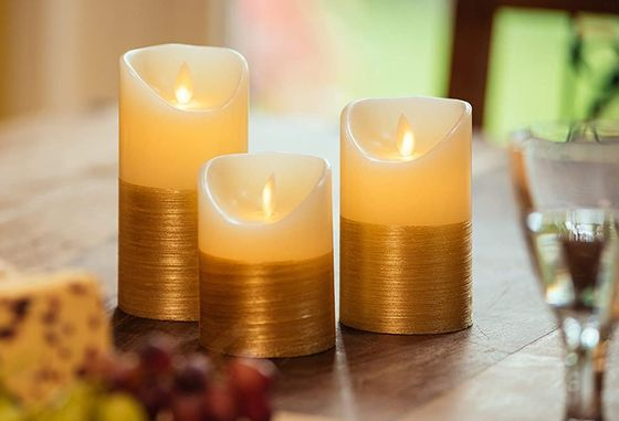 LED Pillar Candles With Gold Trim