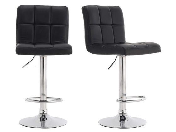 Trendy Leather Bar Stools With Back And Metal Foot-Rest