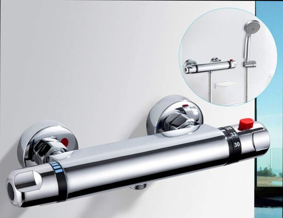 Thermostatic Mixer Set In Polished Chrome