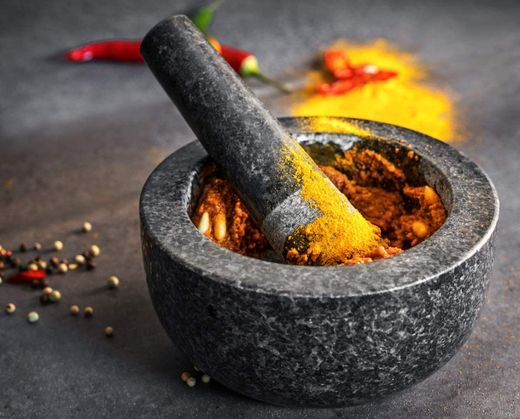Big Cooking Mortar And Pestle With Flat Rim