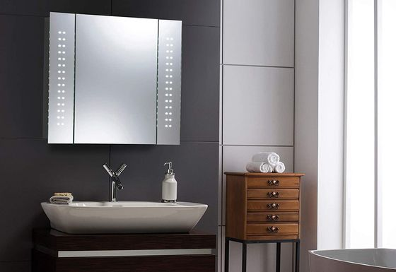 Square LED Bathroom Mirror Cabinet On Wall