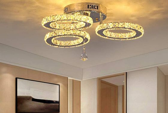 Crystal LED Ceiling Lights In Gold Finish