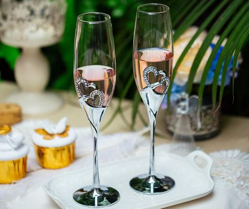 Wedding Champagne Flutes With Silver Trim