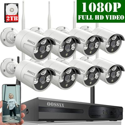 Wireless HD Camera CCTV Kit With Black Mobile