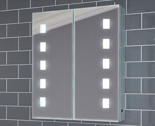 Steel Bathroom Cabinet Mirror With Square LED