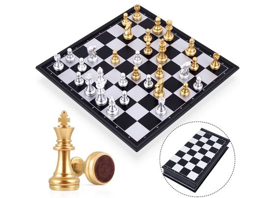 Magnetic Chess With Silver And Gold Pieces