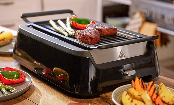 Portable Table Grill With Black Exterior