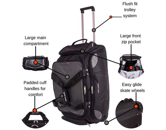 Duffle Bag On Wheels With Front Zipper Area