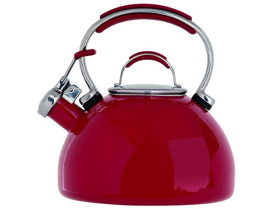Stove Top Whistling Kettle In Deep Red