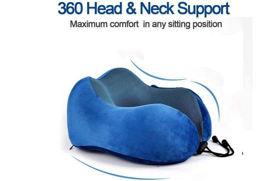 Neck Pillow In Soft Blue Memory Foam