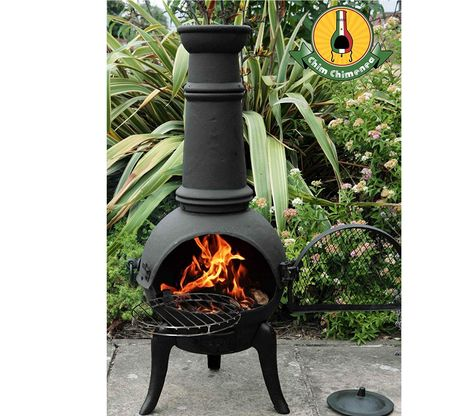 Large Outdoor Chiminea In Black On Patio Slab