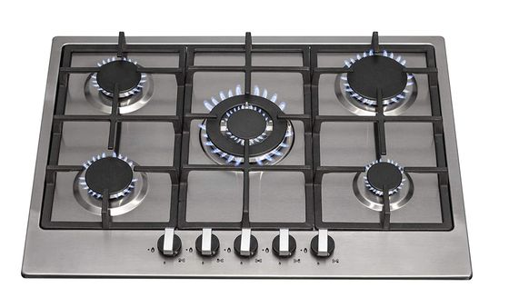 Natural//Propane Gas Cast Iron Klarstein Illuminosa Safety Valves Black Self-Sufficient Automatic Switch-Off 75 cm Pan Support with Magnetic Holder Gas Hob Built-in Sabaf Burner 5-Burner
