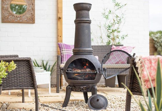 Tall Black Chiminea With Grill Zone