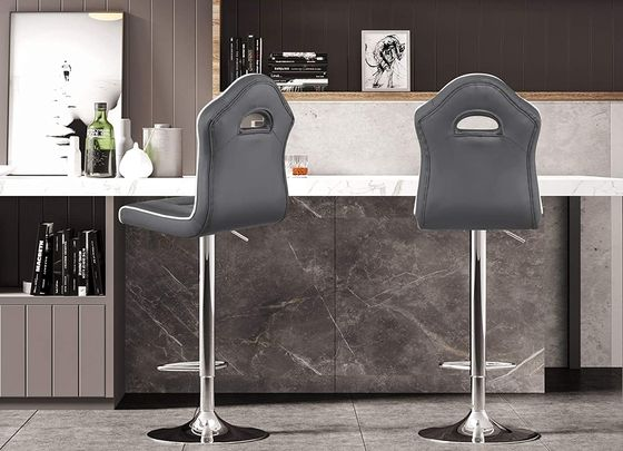 Adjustable Height Bar Stool With Quilted Black Seat