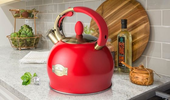 Stove Top Hot Water Kettle In Bright Red