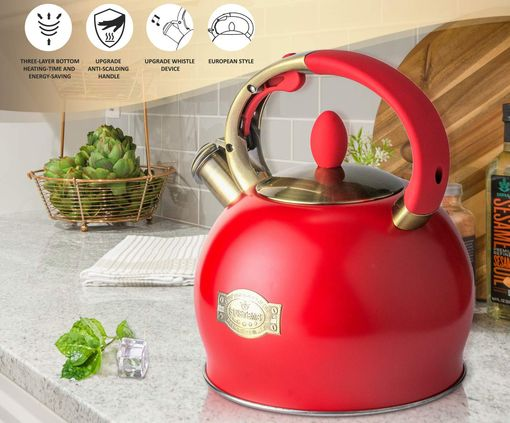 Whistling Stovetop Kettle In Red Steel
