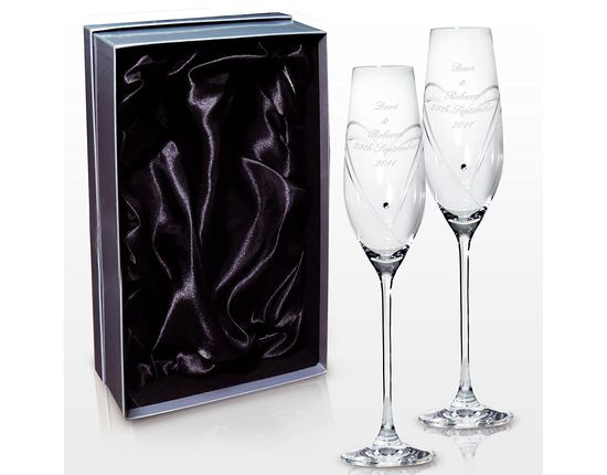 Groom Bride Champagne Flutes With Long Stem