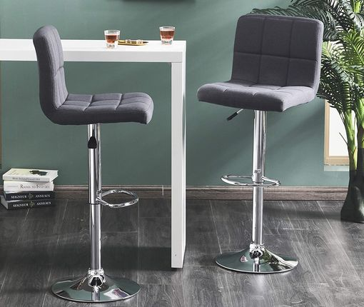 Upholstered Bar Stools With Neat Stitching