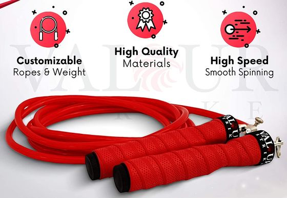 Weighted Jump Rope In Bright Red