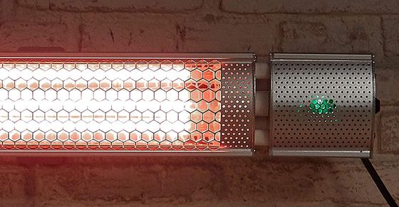 Wall Mounted Outdoor Heater On Brown Brick Wall
