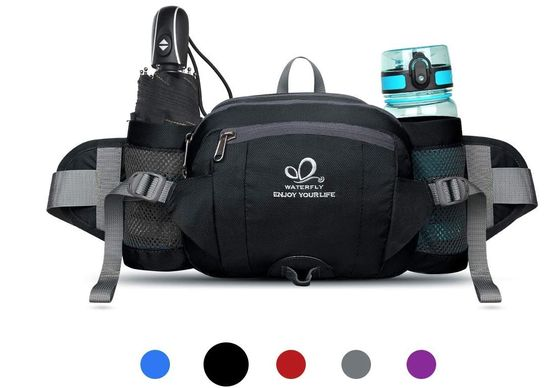 Black Hiking Waist Bag With Bottle Pouch