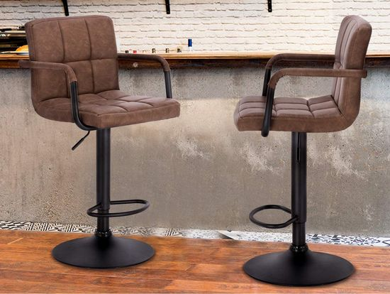 Comfy Swivel Bar Stool With Back Rest