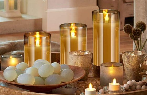 Brown Glass LED Candles On Plate